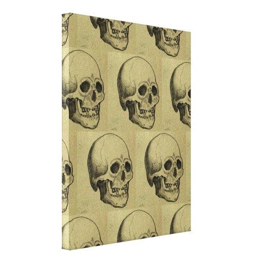 Modelo esquelético de Halloween de los cráneos gót Lienzo Envuelto Para Galerías