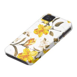 Modelo estampado flores amarillas iPhone 4 Case-Mate protectores