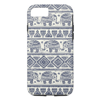 Modelo étnico azul del elefante funda iPhone 7