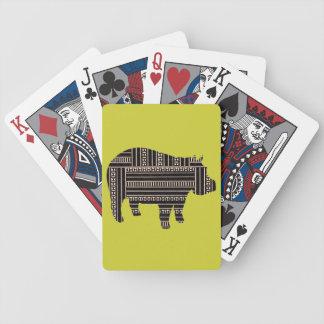 Modelo étnico del hipopótamo antiguo del vintage t baraja cartas de poker
