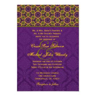 Modelo étnico púrpura del oro verde que casa H600 Invitacion Personalizada
