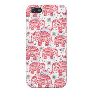 Modelo étnico rojo del elefante iPhone 5 fundas