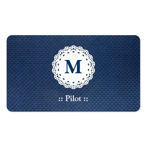 Modelo experimental del azul del monograma del cor plantillas de tarjetas personales