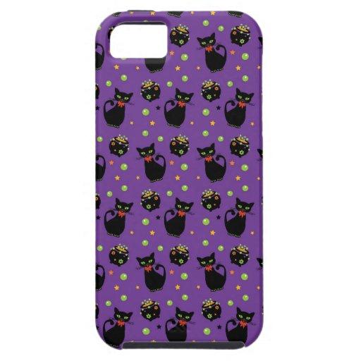 Modelo fantasmagórico de Halloween del gato negro iPhone 5 Case-Mate Cárcasa