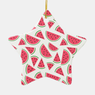 Modelo feliz de la sandía - elija su fondo adorno navideño de cerámica en forma de estrella