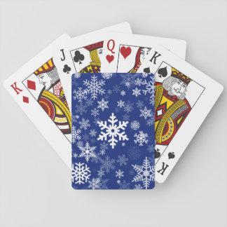 Modelo feliz de los copos de nieve del día de barajas de cartas