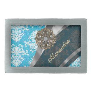 Modelo femenino bonito azul claro personalizado hebillas cinturon rectangulares