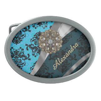 Modelo femenino bonito azul personalizado del hebillas de cinturón ovales