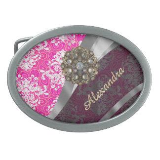 Modelo femenino bonito rosado personalizado del hebilla de cinturón oval