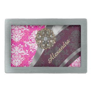 Modelo femenino bonito rosado personalizado del hebilla cinturón rectangular