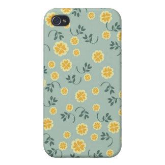 Modelo femenino de la flor floral elegante retra d iPhone 4 cárcasas