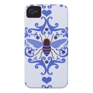 Modelo femenino de la naturaleza del damasco azul iPhone 4 carcasas
