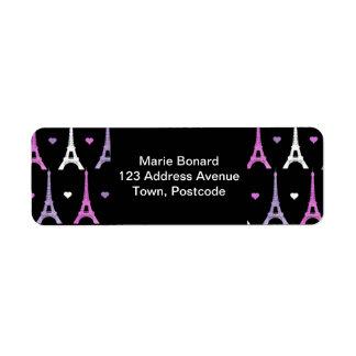 Modelo femenino de la torre Eiffel en negro Etiquetas De Remite