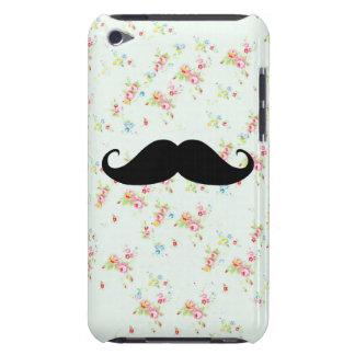 Modelo femenino de los bigotes florales divertidos iPod touch funda