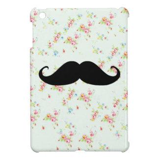 Modelo femenino de los bigotes florales divertidos iPad mini funda