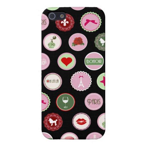 Modelo femenino del amor rosado de París iPhone 5 Funda