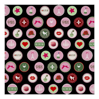 Modelo femenino del amor rosado de París Impresiones