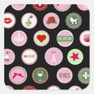 Modelo femenino del amor rosado de París Calcomanías Cuadradass