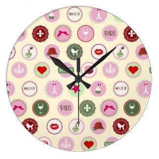 Modelo femenino del amor rosado de París Reloj De Pared