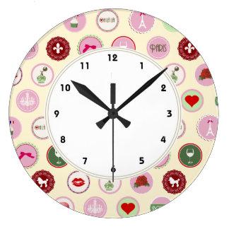 Modelo femenino del amor rosado de París Relojes De Pared