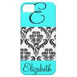 Modelo femenino del damasco con el monograma y el  iPhone 5 Case-Mate coberturas