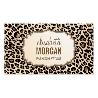 Modelo femenino del estampado leopardo elegante tarjetas de visita