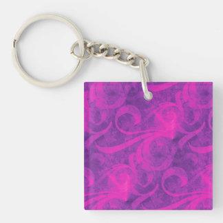Modelo femenino del Flourish floral rosado púrpura Llavero Cuadrado Acrílico A Doble Cara