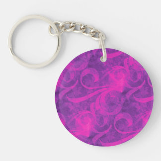 Modelo femenino del Flourish floral rosado púrpura Llavero Redondo Acrílico A Doble Cara