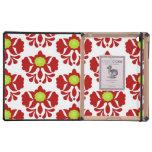 Modelo femenino floral del damasco rojo y verde de iPad protector
