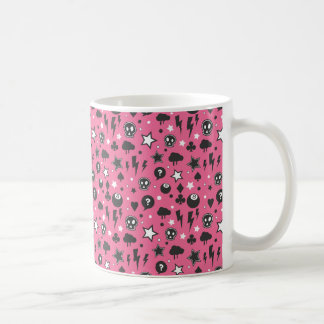 Modelo femenino rosado del punk rock taza de café