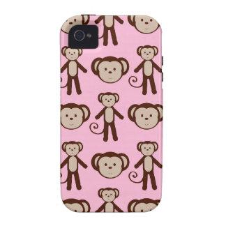 Modelo femenino rosado lindo del collage del mono iPhone 4/4S fundas