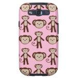 Modelo femenino rosado lindo del collage del mono galaxy SIII cobertura