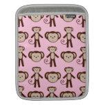 Modelo femenino rosado lindo del collage del mono funda para iPads