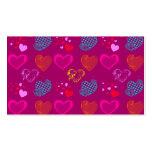 Modelo femenino rosado púrpura del amor de los cor tarjeta de negocio