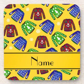 Modelo feo amarillo conocido de encargo del suéter posavasos