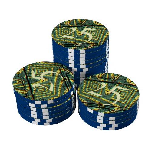 Modelo feo extraño juego de fichas de póquer