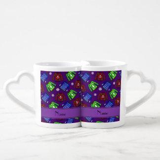 Modelo feo púrpura conocido de encargo del suéter taza para parejas