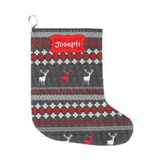 Modelo festivo de los ciervos escandinavos de la calcetín de navidad grande