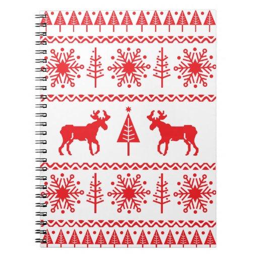 Modelo festivo del suéter del navidad libro de apuntes con espiral