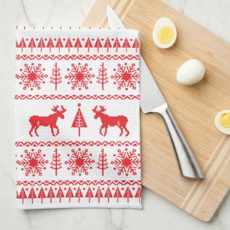 Modelo festivo del suéter del navidad toalla de cocina