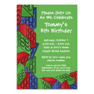 """Modelo - fiesta de cumpleaños de los bloques invitación 5"""" x 7"""""""