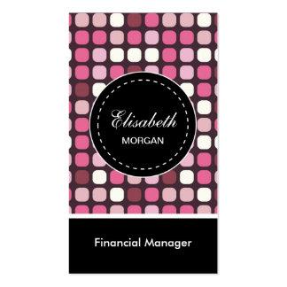 Modelo financiero de la polca del rosa del tarjetas de visita