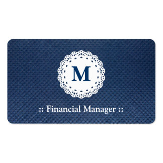 Modelo financiero del azul del monograma del cordó tarjetas de visita
