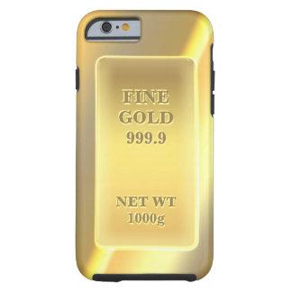 Modelo fino brillante del oro 999,9 con monograma funda de iPhone 6 tough
