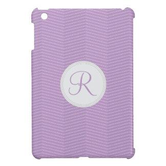 Modelo fino de Chevron del monograma púrpura viole iPad Mini Fundas