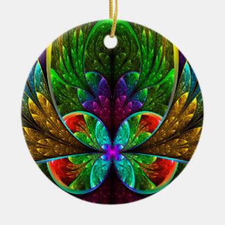 Modelo floral abstracto del vitral adorno navideño redondo de cerámica
