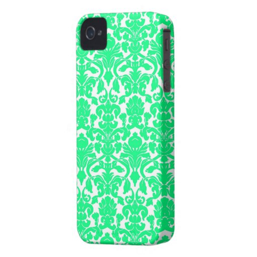 Modelo floral adornado verde del damasco de la iPhone 4 Case-Mate cárcasas