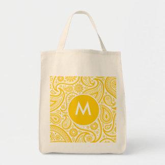 Modelo floral amarillo de Paisley Bolsas De Mano
