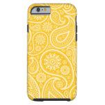 Modelo floral amarillo de Paisley Funda De iPhone 6 Tough