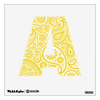 Modelo floral amarillo de Paisley Vinilo